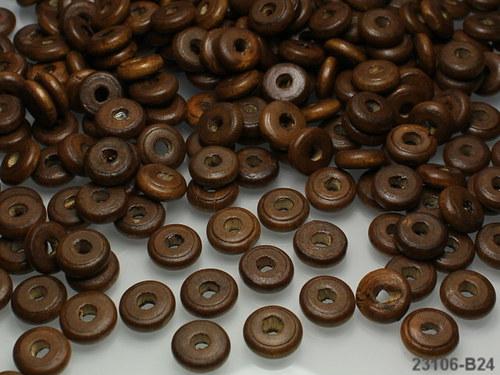 23106-B24 Dřevěné korálky 11/4 HNĚDÉ, bal.9g