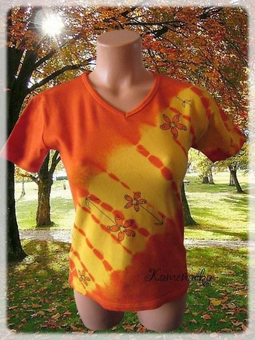 Dámské tričko s batikou a květy 3