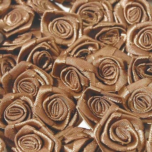 Aplikace růžička saténová 12mm - sv. hnědá (10ks)