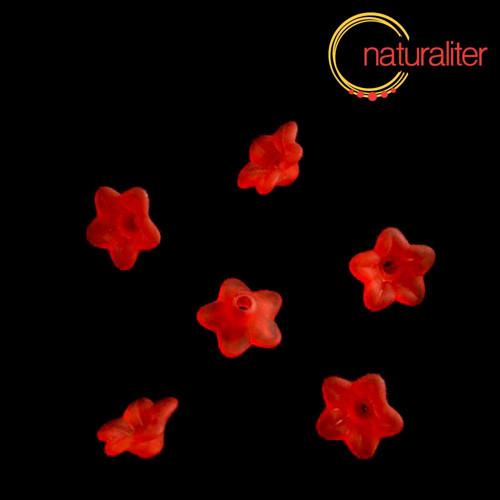 Květina akrylová 9mm červená, 10ks