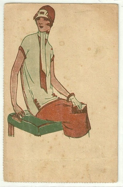 Umělecká pohlednice pózující žena