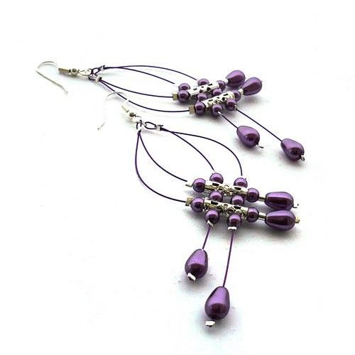 Sv. fialové dešťové náhrdelníčky do oušek II.menší