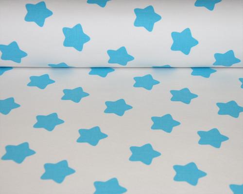 Bavlněná látka : Hvězdy kulaté bílá/tyrkysová