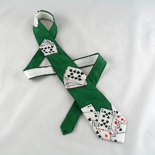 Hedvábná kravata s kartami - tmavě zelená