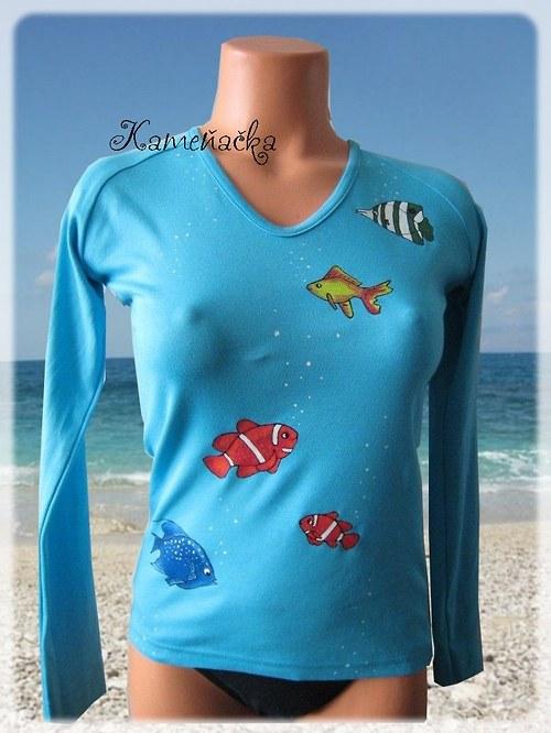 dámské tričko s rybičkami