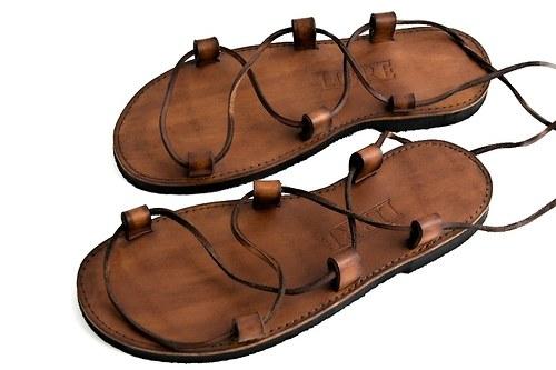 Kožené sandále Kristusky Camel