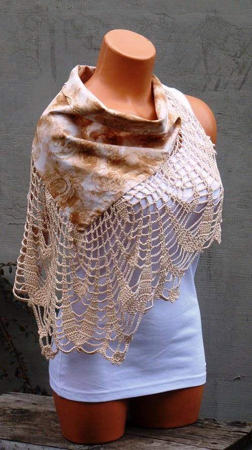 Šátek v pavučince - béžový