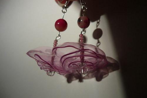 Náušnice z petky Růžové snění s africkým opálem