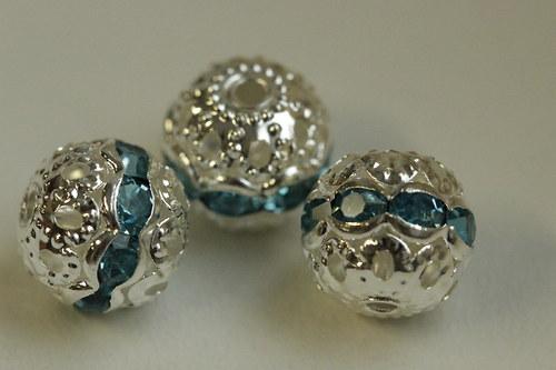Šatonové kuličky 10mm - modré - 3ks