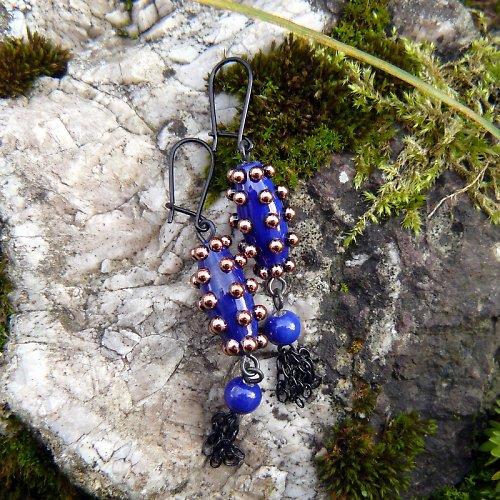 Náušnice špíglované housenky -  tmavě modré