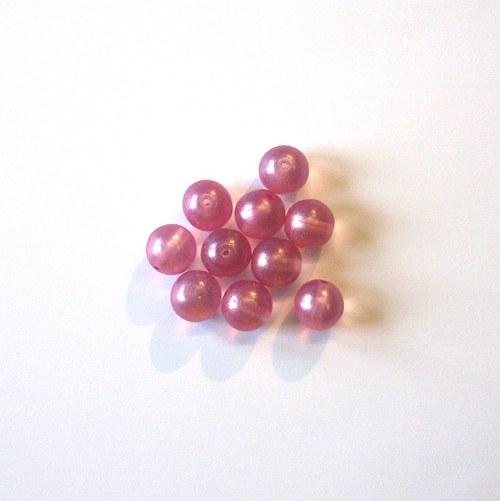 Skleněné korálky - kuličky růžové