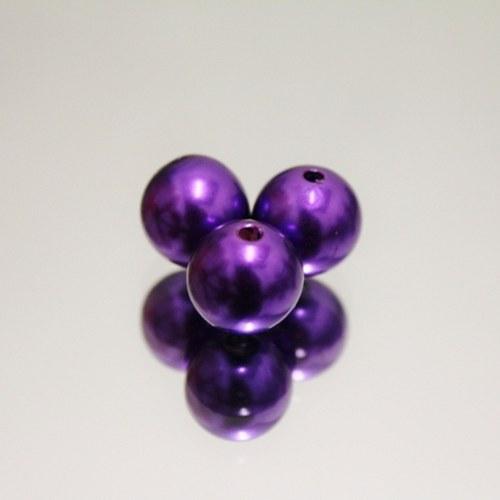 Plastové perle fialové 15mm, 8ks