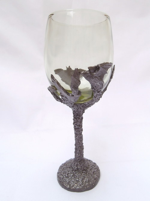 sklenice na víno - s motivem netopýrů