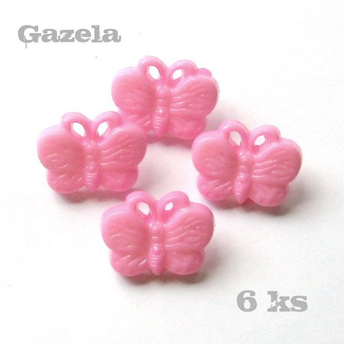 Knoflík Motýlek růžový - 6 ks