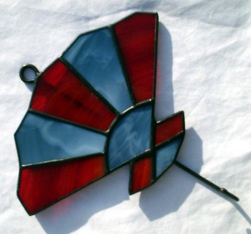 Věšáček s vitrážkou ve tvaru vějíře - velký