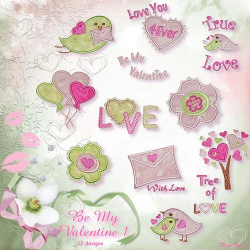 Vyšívací vzory - Be My Valentine