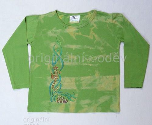 Malované tričko dětské-mořský koník-zelené