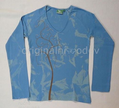 Malované tričko dámské - strom - modré