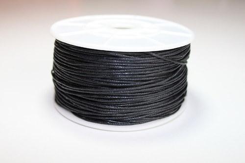 Voskovaná bavlněná šňůrka černá - 1m
