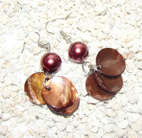 náušnice penízky z perleti