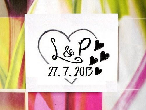 Svatební č.4 srdce se srdíčky. Omyvatelné razítko.