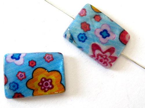 0705014/Perleťový obdélník modrý s mix květy