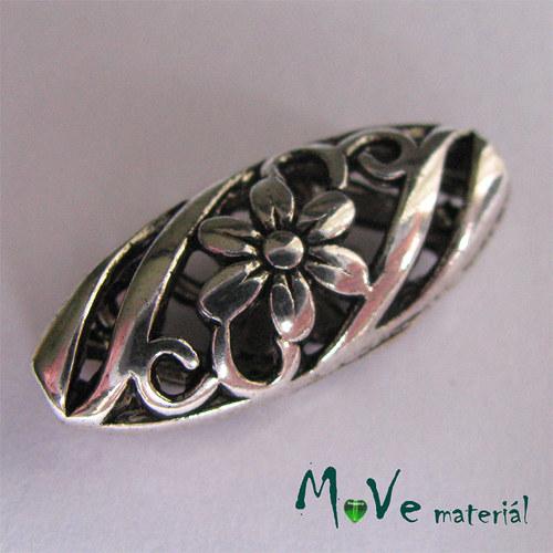 Korálek kovový 10x23mm s květinou, 1ks