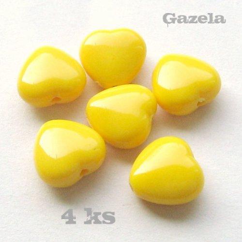 Srdíčka žlutá - 4 ks