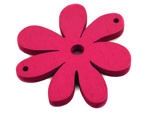 Dřevěný výsek 35x40mm květinka-fialovorůžová (2ks)