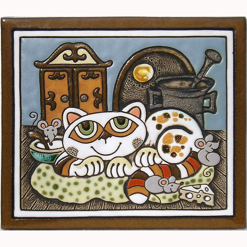 Keramický obrázek - Kočka a skříň K-149-N