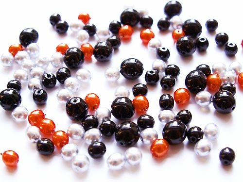 Voskové perle - oranžovo-šedo-černá směs