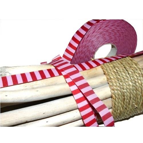 Tkaná stuha pruhovaná růžovo-červená