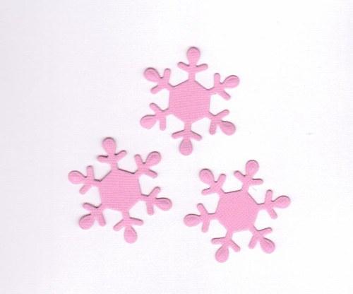 Vločky - růžové výseky (3 ks)