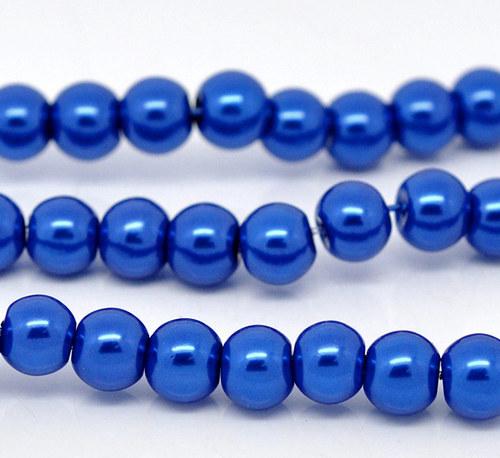 perly skleněné / modrá - tmavě / 8mm/ 14ks