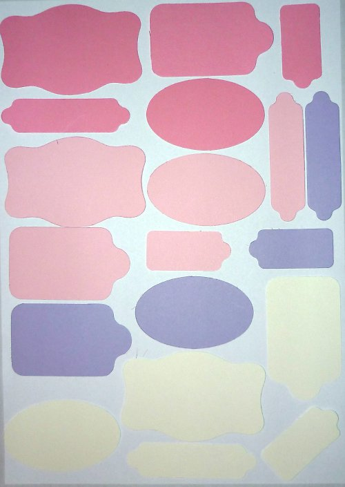 Cedulky dívčí barvy - výseky 20 ks