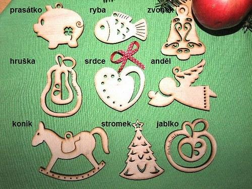 Vánoční dřevěné ozdoby FIGURKY - 9 druhů - L