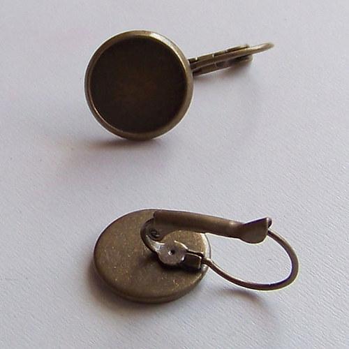 náušnice s lůžkem/ ant.bronz/ 12mm/ 2ks (1pár)