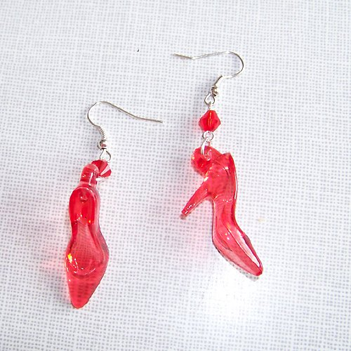 Náušnice akrylové lodičky, barva červená