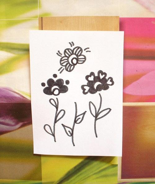 Květinky (3) sada  6 ks razítek... Omyvatelná.