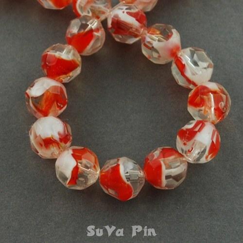 Korálky duhovky red 11mm; 19 ks