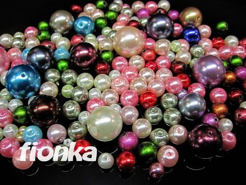 555, Korálky skleněné perla mix 60g/49,-