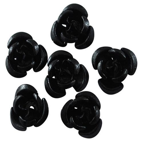 kovový korálek růže/ černá/ 12 mm/ 10ks