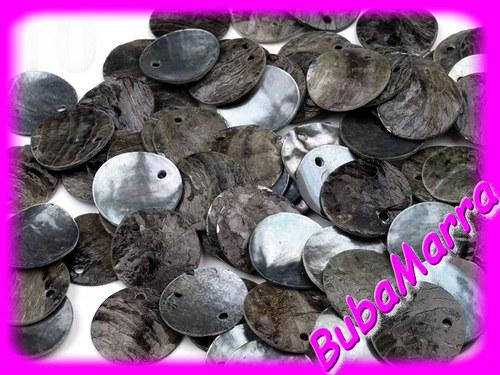 10ks~ Perleťové korálky ~ placička ~Ø15mm~ ŠEDÁ