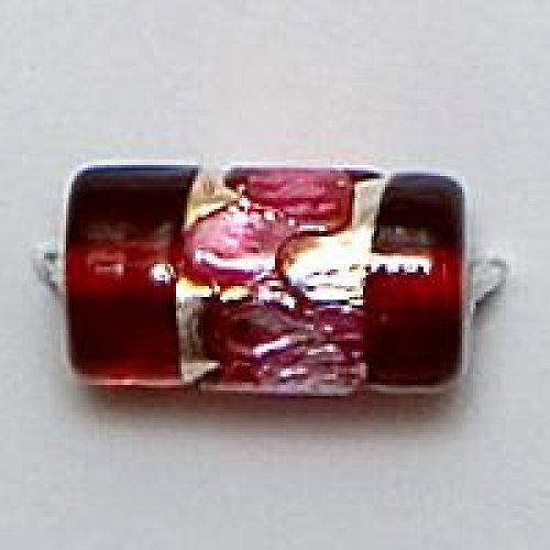 Váleček stříbrná folie 12×8mm rubín