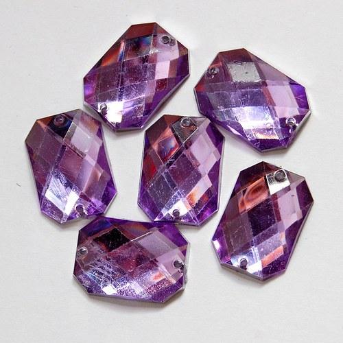 Našívací kamínek Osmiúhelník fialová 10ks NK-111