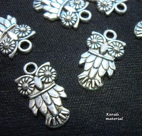 2149 Přívěsek kovový SOVA starostříbro, 2 ks