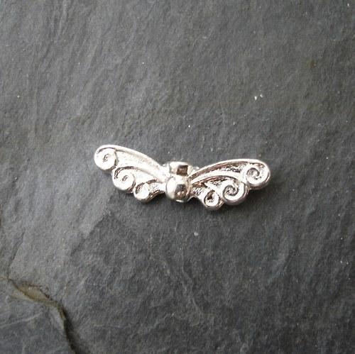Andělská křídla 21x6mm - stříbrná - 2 ks