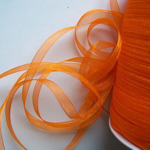 stuha šifonová / 6mm / oranžová tm./ 3m