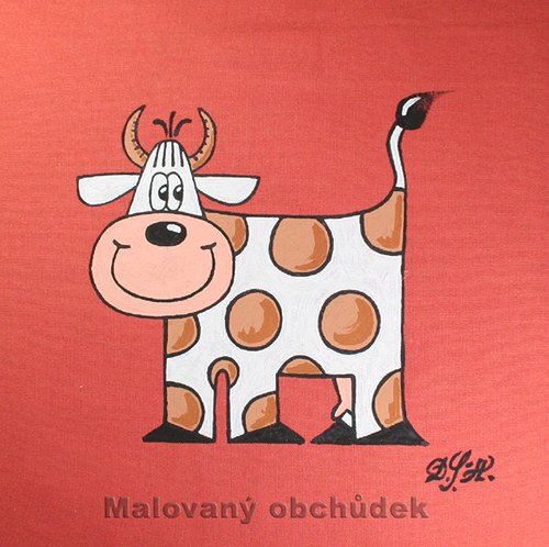 Malovaný povlak na polštář s kravičkou Emičkou