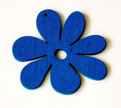 dřevěné kytičky- modré